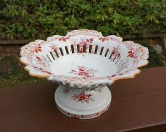 English Ironstone Footed Fruit Stand with Reticulated Rim