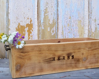 Rustic Wood Planter Box, Herb Garden