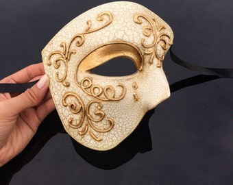 Mens Masquerade Mask, Ivory Masquerade Mask, Gold Mask, Roman God Mask, Greek God Mask, Masquerade Mask Men, Gold Mask, Mardi Gras Mask