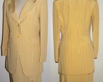 1980s David Hayes SILK Suit / Yellow Pinstripe Women's Blazer and Skirt  Career Bright / Vintage size 8