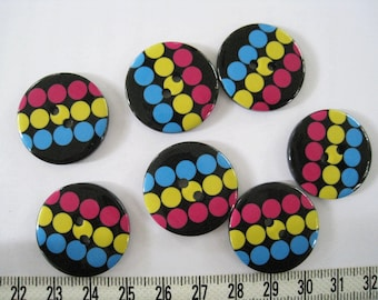 10pcs of Multicolor Polka Dot Button Graphic Print -  25mm