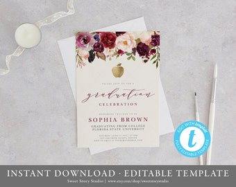 Teacher invitations etsy floral teacher graduation invitation card instant download editable printable burgundy announcement stopboris Gallery