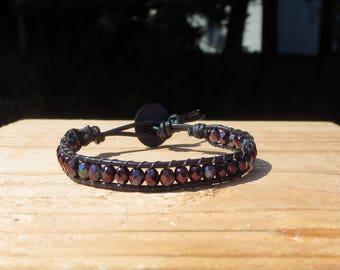 Amethyst Bracelet, Women's Leather Wrap Bracelet,Purple Beaded Bracelet for Bohemian, Birthstone Jewelry, Gifts for Her, Casual Bracelet