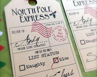 North Pole Express Gift Tags - Set of 4 Christmas Gift Tags - Personalized Gift Tags