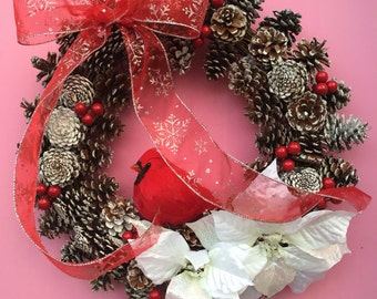 Pinecone Wreath, Pine Cone Wreath, Cardinal Wreath, Christmas Wreath, Christmas Door Decor, Poinsettia Wreath, Berry Wreath, Winter Wreath