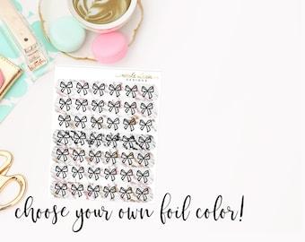 FOIL Marble Bows Grey,Black,Pink,Gold , Foil Planner Stickers