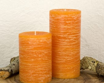 Orange Rustic Pillar Candle - Various Sizes - Unscented Candles - Rustic Decor - Boho Decor - Rustic Fall Decor