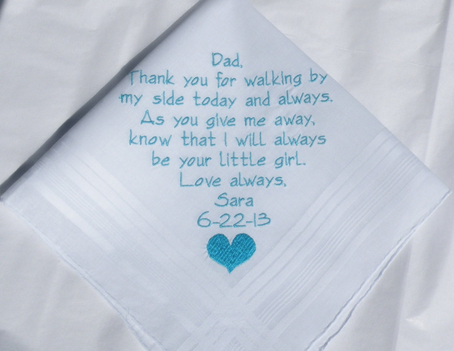 Handkerchief for Father of the Bride Personalized Wedding Hankerchief gift  for Dad Custom Embroidered hanky by Napa Embroidery