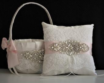 Blush Ring Pillow, Pink Flower Girl Basket, Blush Wedding Basket, Blush Wedding Pillow, Pink Wedding Basket, Blush Pink Bearer Pillow