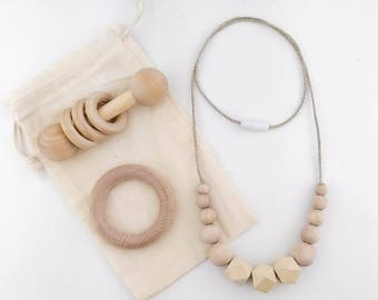 Teething Nursing Necklace Set | Wooden Beads Nursing Necklace | Wood Rattle | Wood Teething Ring | New Baby | Baby Shower Gift