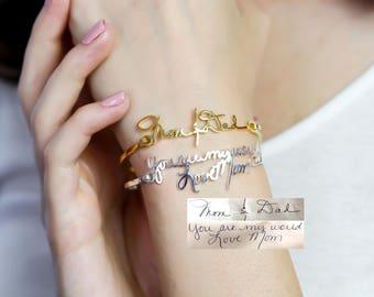 Custom Handwriting Bangle • Signature Bangle • Personalized Handwriting Bangle • Keepsake Jewelry in Sterling Silver • MemorialGift • BH05