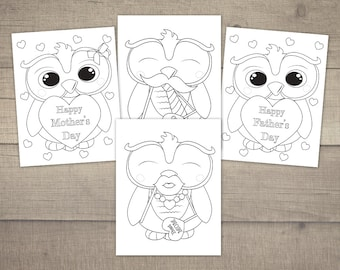 Mother's Day Coloring Pages, Father's Day Coloring, Mothers day Coloring, Printable Coloring Pages, Owl Coloring - 4designs, Digital File