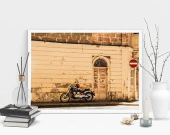 Motorcycle Photography Print, Wall Art, Sepia Print, Printable Art, Instant Digital Download Print, Old Door