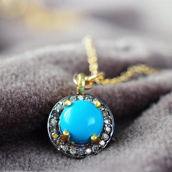 Diamond Pave & Turquoise Necklace