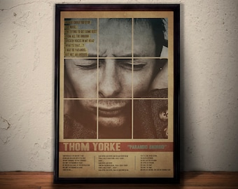 THOM YORKE Poster * Paranoid Android Lyrics Poster Art Print * Radiohead Poster * Retro Vintage Wall Art Gift For Him Gift For Her