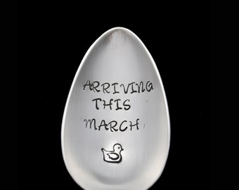 Hand Stamped Spoon, Pregnancy Announcement,  New Grandparent Gift Personalized Spoon Baby Arrival Vintage Silverware