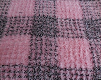 "Unique PINK and BLACK Crosshatch Design Vintage Chenille Bedspread Fabric - 24"" X 24"""