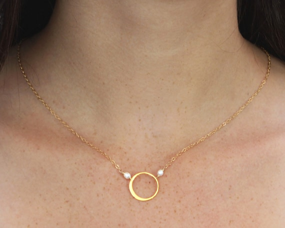 Eternity Necklace. Gold fill or sterling silver. Fresh Water Pearl or your choice of birthstone. Circle of Life.