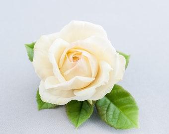 Rose hair clip Bridal hair clip Ivory rose barrette  Flower hair clip bride  Floral Barrette Rose cold porcelain Bride hair accessories