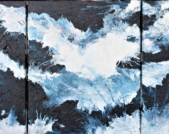 Original Abstract modern art painting  navy white black Australia Waves beach sea white water canvas triptych 60 x 150cm