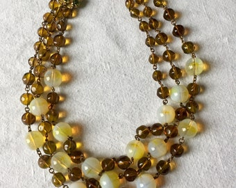 Vintage French 1950s Glass Multi-Strand Necklace