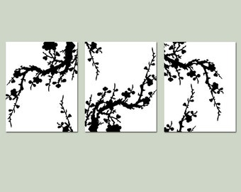 Black and White Cherry Blossom Art Bedroom Decor - Cherry Blossoms Wall Decor Set of 3 Prints - Choose Your Size and Colors