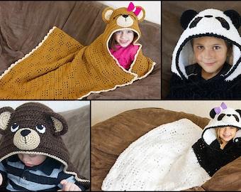 CROCHET PATTERN - Panda & Teddy Bear Hooded Blanket Pattern (PDF File)