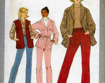 Simplicity 8695   Misses Unlined Vest, Pants, Jacket/Belt   Size 10  Uncut