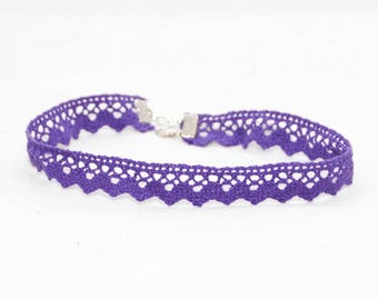 Choker Necklace Lace Purple Crocheted