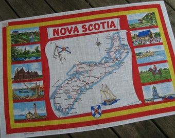 Nova Scotia | Souvenir Linen Tea Towel | Vintage Kitchen | Canadian Linens | Nova Scotia Map | East Coast Dish Towel | Rare | Canada