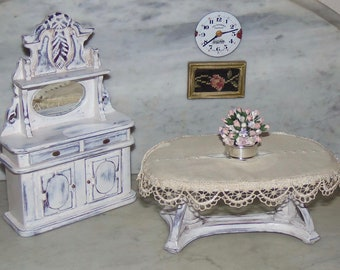 1:12th Dollhouse Dining Room Table and Cloth.   Painted.  French Country.