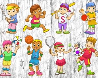 8 Cartoon Sport Kids clipart, Kids clipart, Sport clipart,digital Kids Faces,digital Kids,cartoon clipart,cartoon faces clipart,scrapbooking