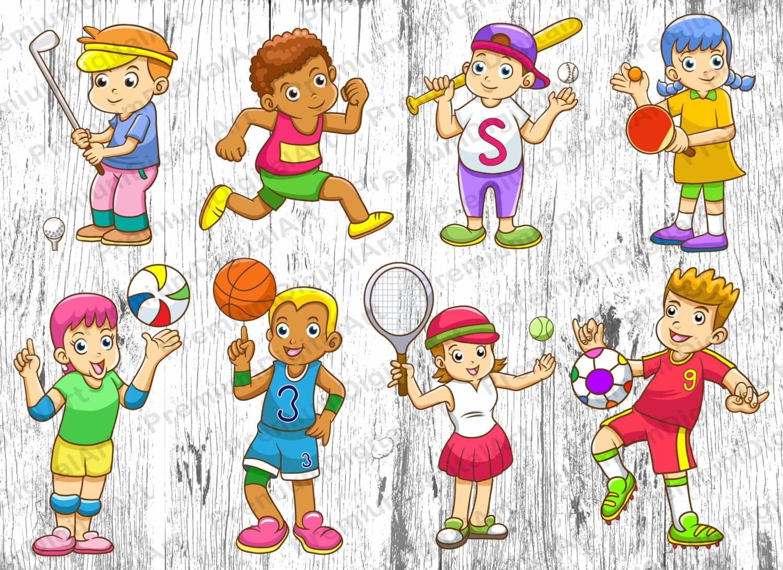 8 cartoon sport kids clipart kids clipart sport rh etsy com Basketball Clip Art Cowboy Clip Art