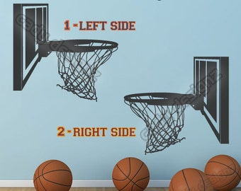 Basketball Hoop Vinyl Decal - Sports Decal - Boys Girls Sports Decor - Man Cave Wall Art - Vinyl Sticker - 16x15