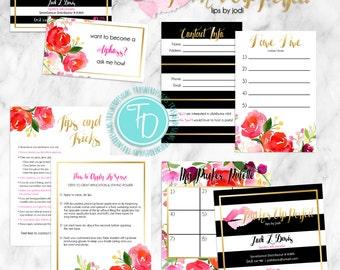 LipSense Branding Pack Printable with Logo Design, LipSense Floral Business Card Printable, LipSense Tips Card Printable, Custom Logo Design