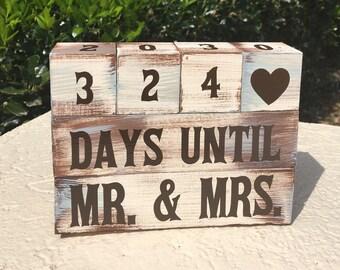 Rustic Painted Wooden Wedding Countdown Blocks