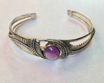 vintage sterling and amethyst cuff bracelet
