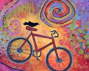 Bicycle Art. Raven Print. Bird Print. Bicycle Wall Art. Colorful Prints. Childrens Room Print. Fun Gifts for Women. Raven Artwork.