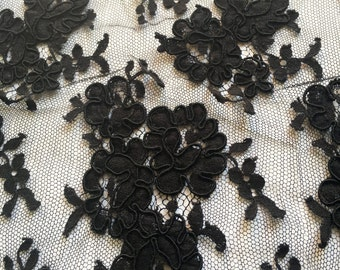 1 Metre x Solstiss Black All Over Corded Lace
