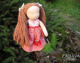 "Waldorf doll VICTORIA 14""- green eyes, OOAK art doll, cloth doll, Steiner doll, handmade doll, made to order"