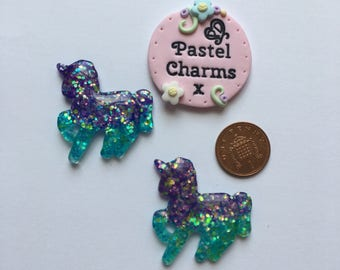 Pack of 2 resin unicorn embellishments purple and teal x
