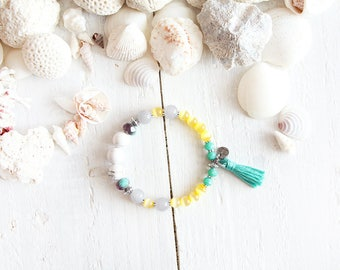 Montego Bay bracelet, elastic wire, pearls, turquoise, white, green, yellow, purple, pompon, beach style, summer jewel, for women