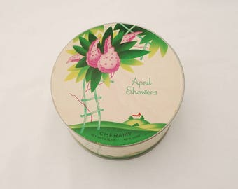 Vintage Cheramy April Showers Dusting Powder Box with Original Powder Puff and Powder - 1940's - Vanity Collectibles