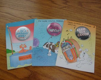 VINTAGE AMBASSADOR GREETING cards,with pins on them ,sayings,rare lot of 3 unused,very funny