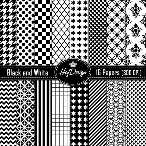 Black And White Digital Paper Black And White Scrapbook Paper