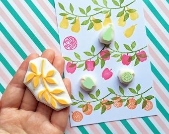 fruits rubber stamp set   apple pear orange leaf   diy botanical birthday wedding card making   hand carved by talktothesun   set of 4