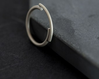 Architectural silver ring Unique ring Minimal ring