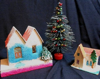 Vintage Japan Village Houses and Decorated Brush Tree - Lot