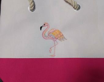 Flamingo tote bag summer tote bag summer bag beach bag flamingo lovers
