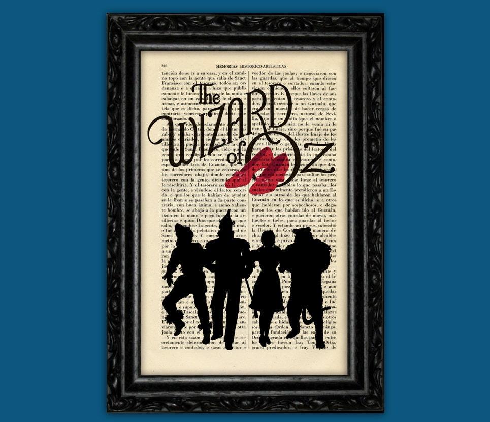 Zauberer von Oz Silhouetten Druck Dorothy roten Schuhe Buch